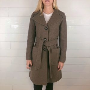 Banana Republic Tan Wool Long Waist Tie Coat